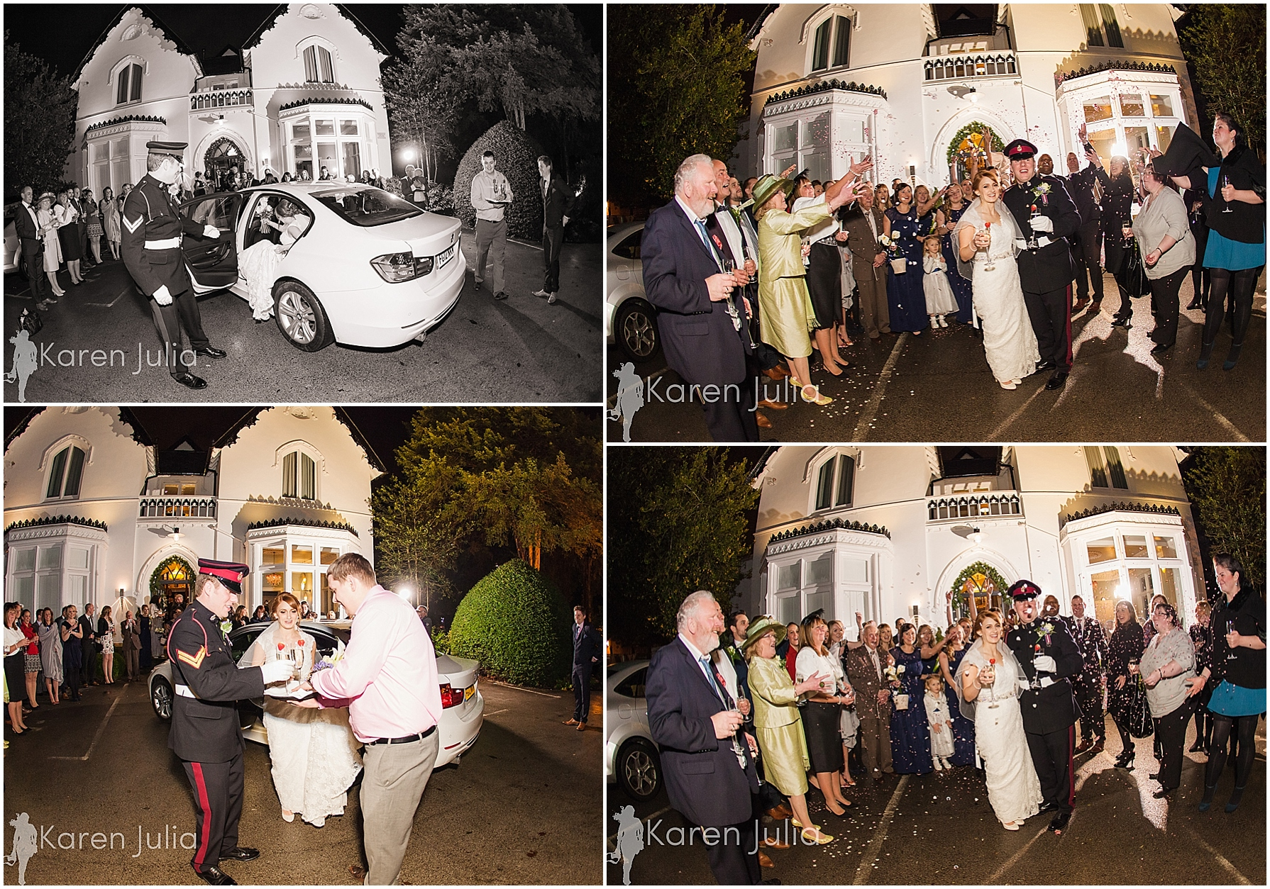 Didsbury House Hotel Winter Wedding Photography confetti in the dark
