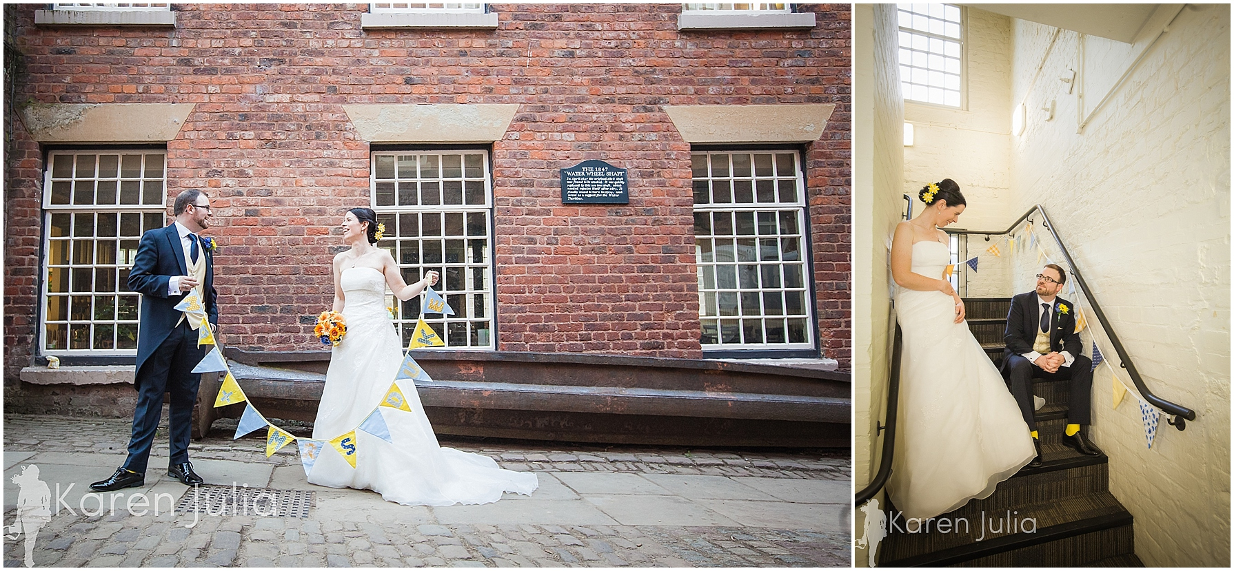 Quarry Bank Mill wedding couple portraits