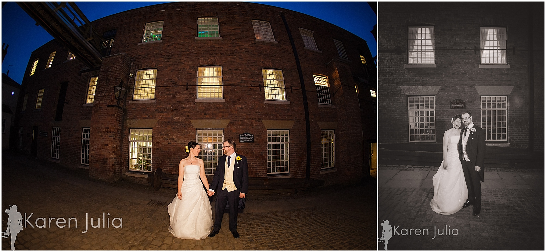 Quarry Bank Mill wedding night portrait