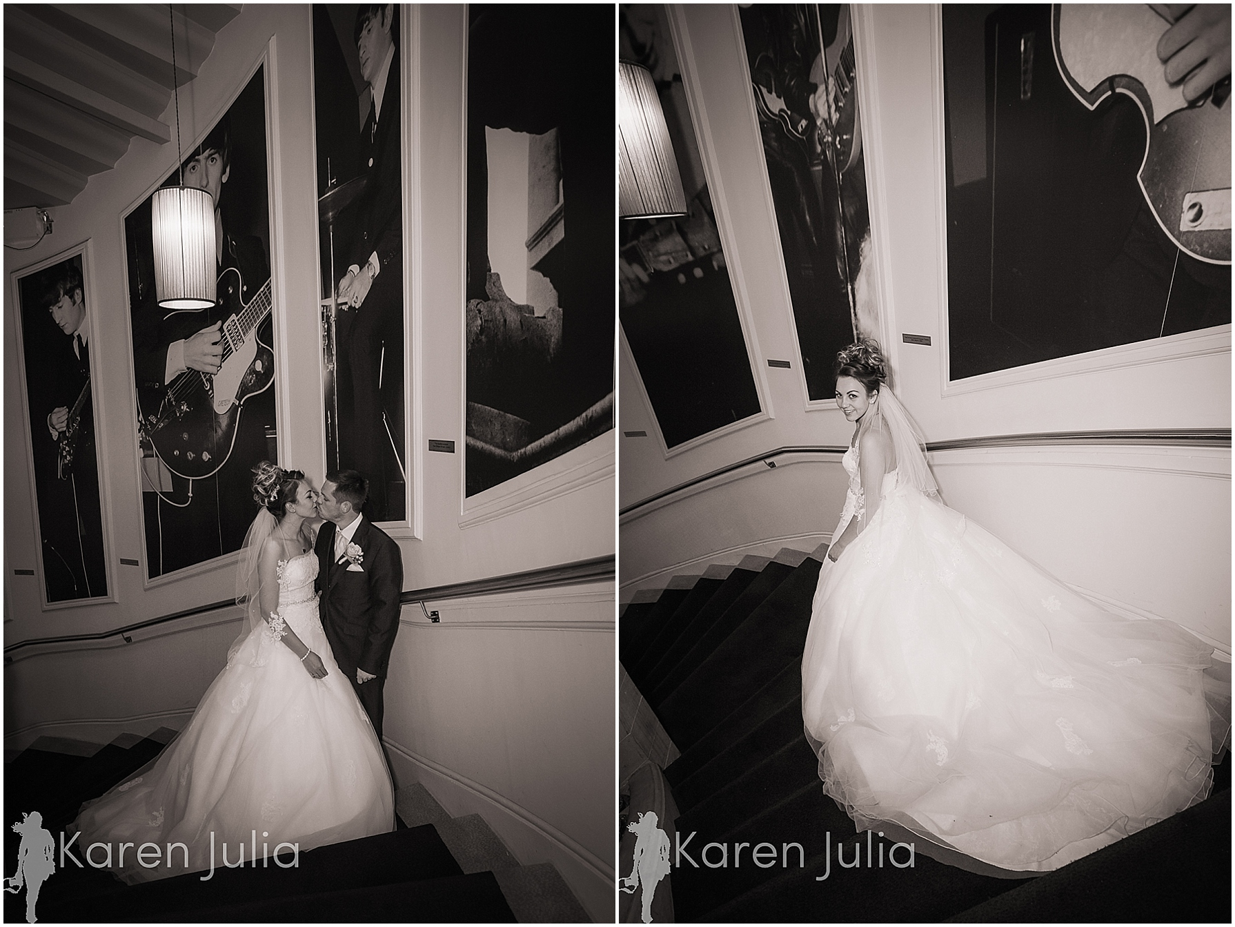 Hard Day's Night wedding portraits on stairs