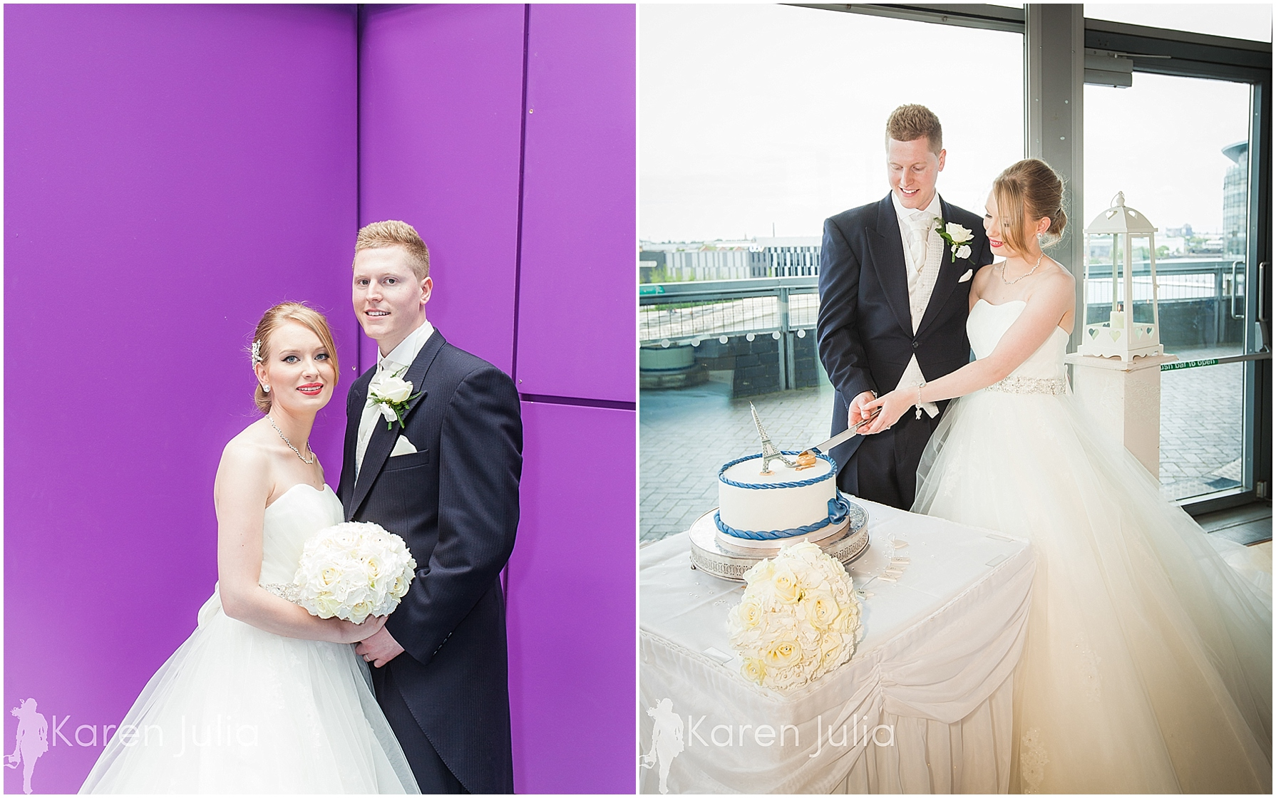 Blue themed Lowry Wedding Photography