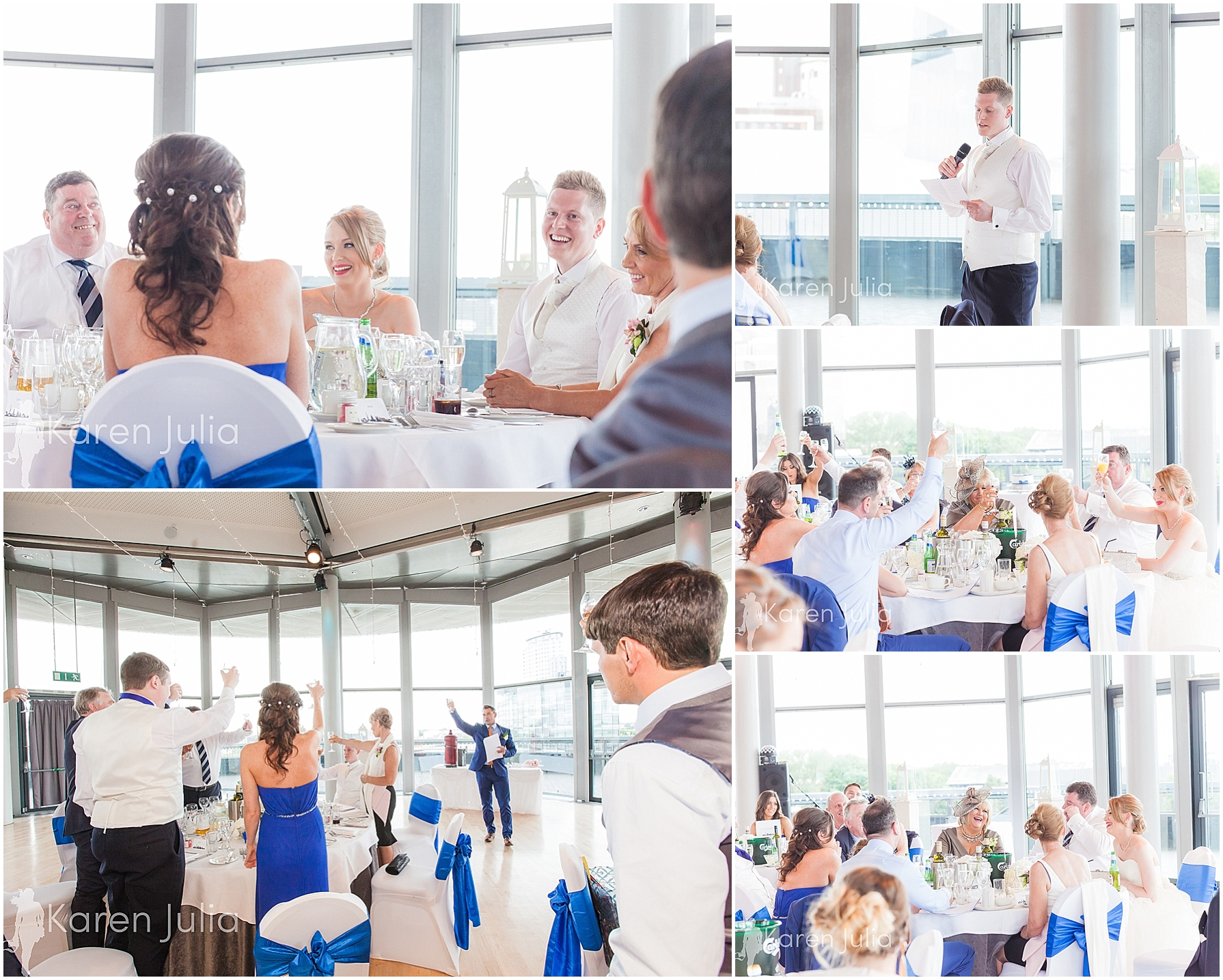 Blue themed Lowry Wedding Photography wedding reception