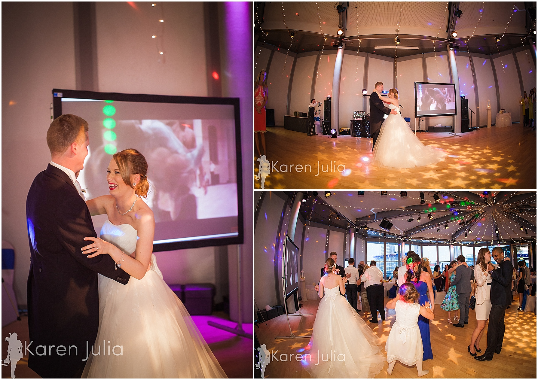 Blue themed Lowry Wedding Photography first dance