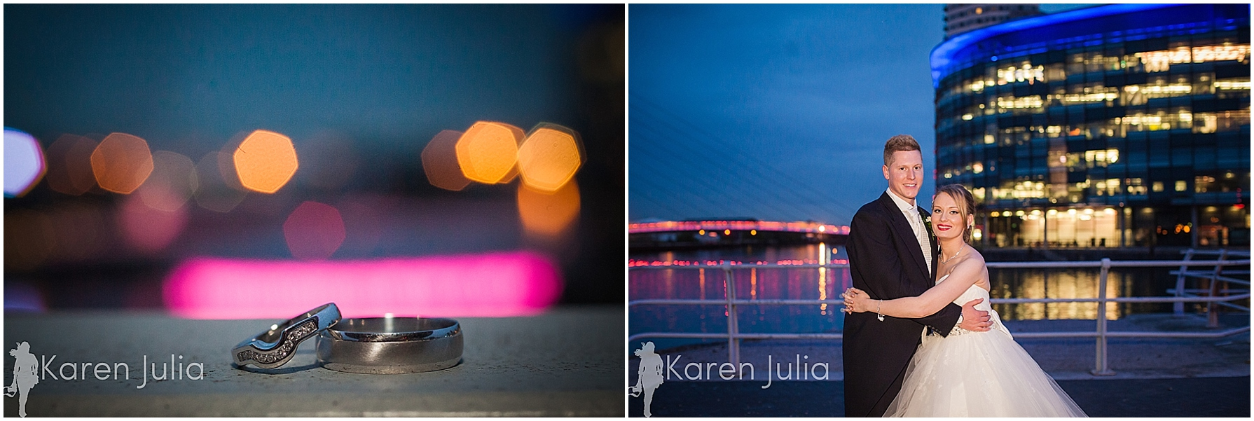 Blue themed Lowry Wedding Photography couple portraits at dusk