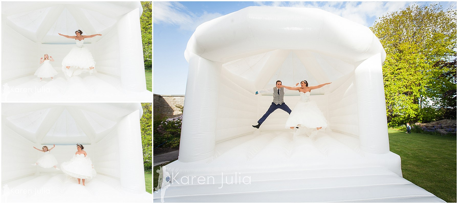 bride & groom on bouncy castle at spring house hotel