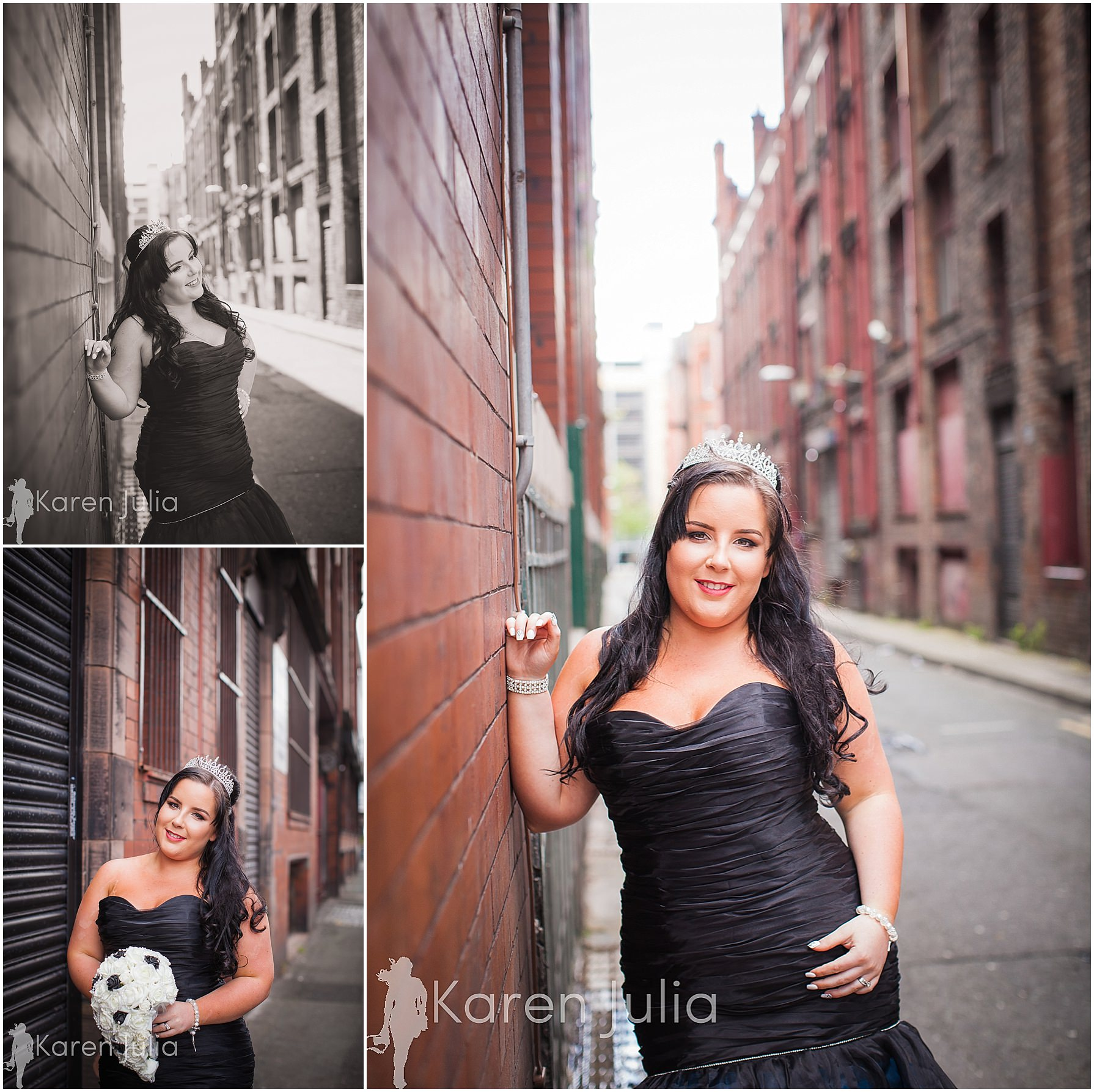 bride portraits black wedding dress manchester northern quarter