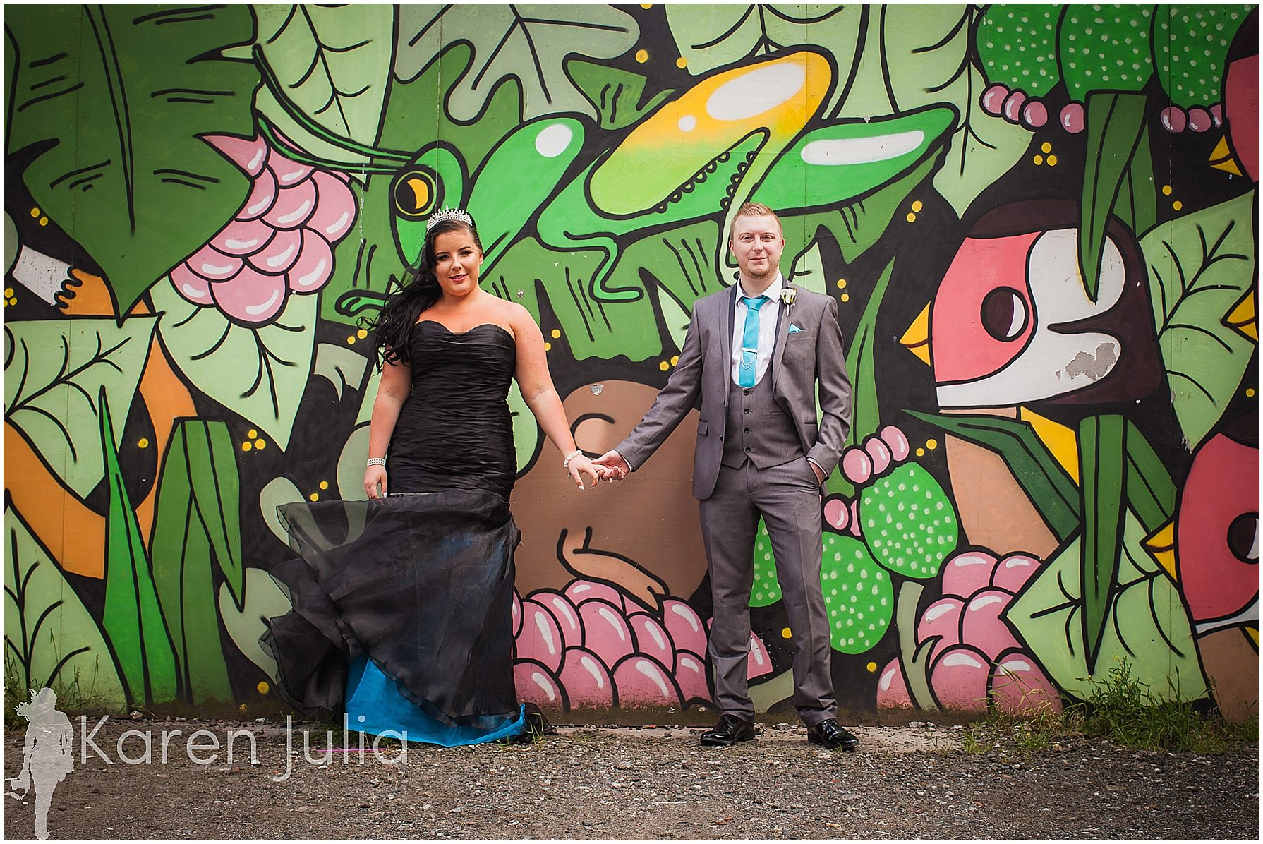 graffiti wall wedding couple portrait