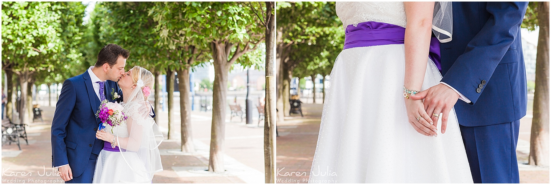bride and groom wedding portraits in salford quays