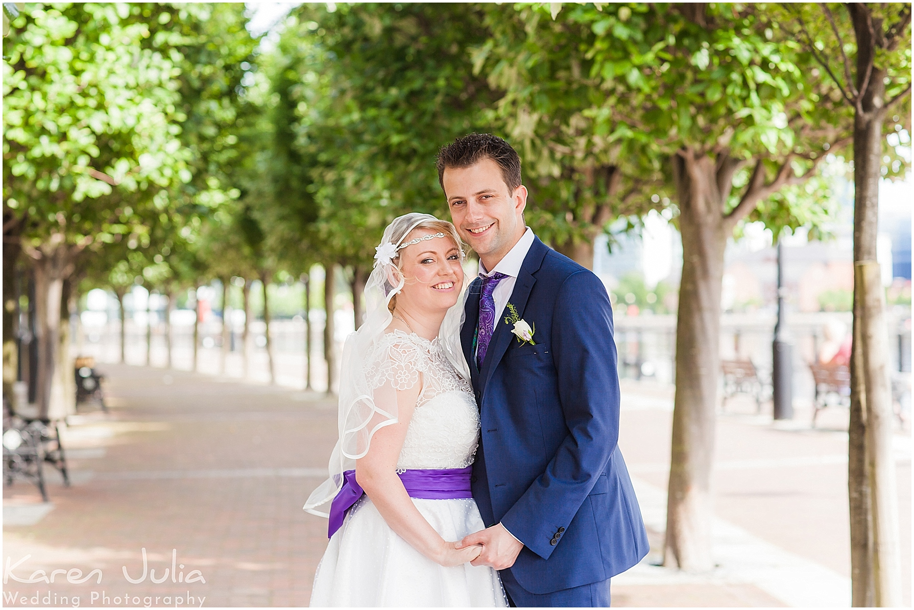 bride and groom portraits in Salford Quays