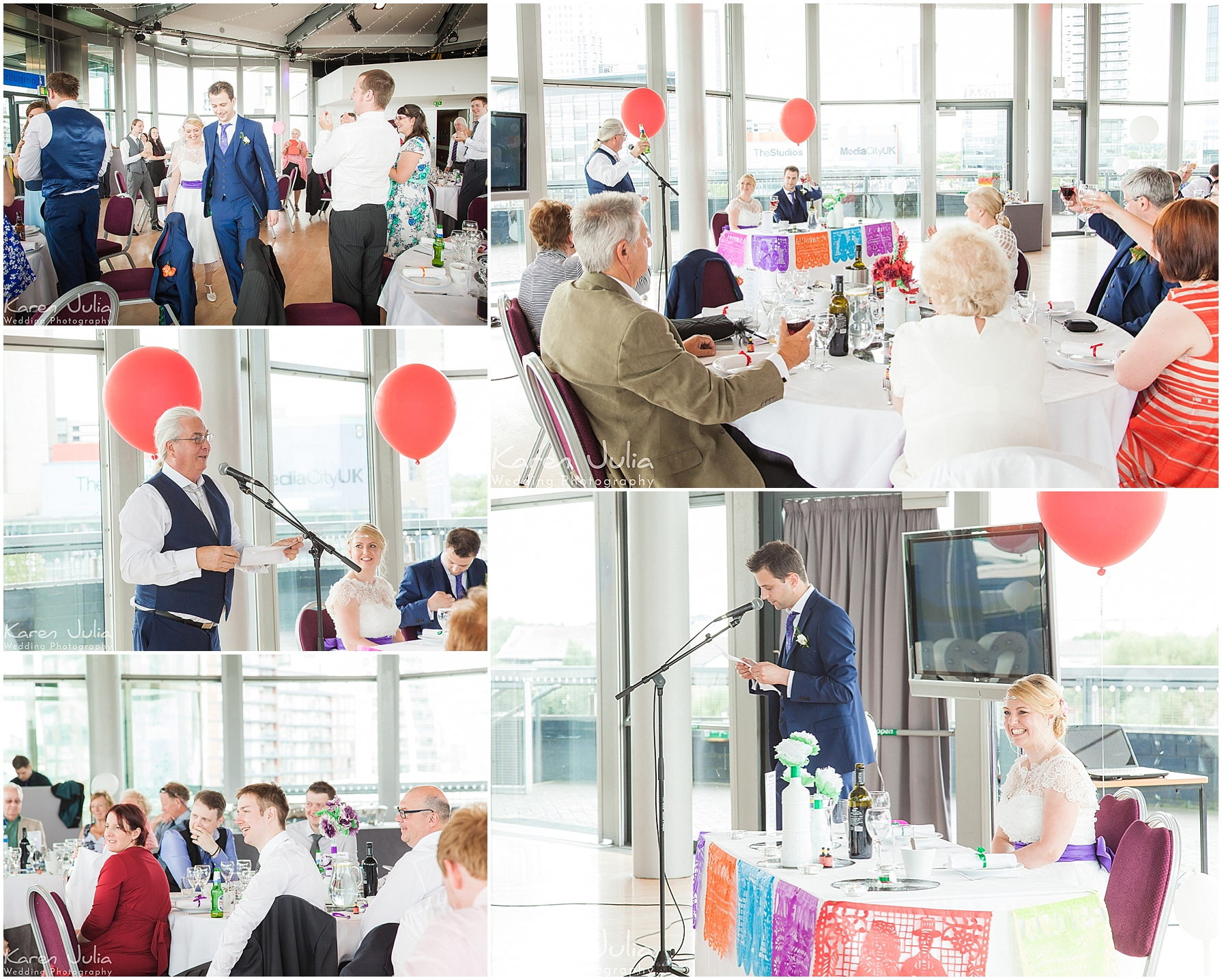 wedding breakfast in the compass room at lowry theatre