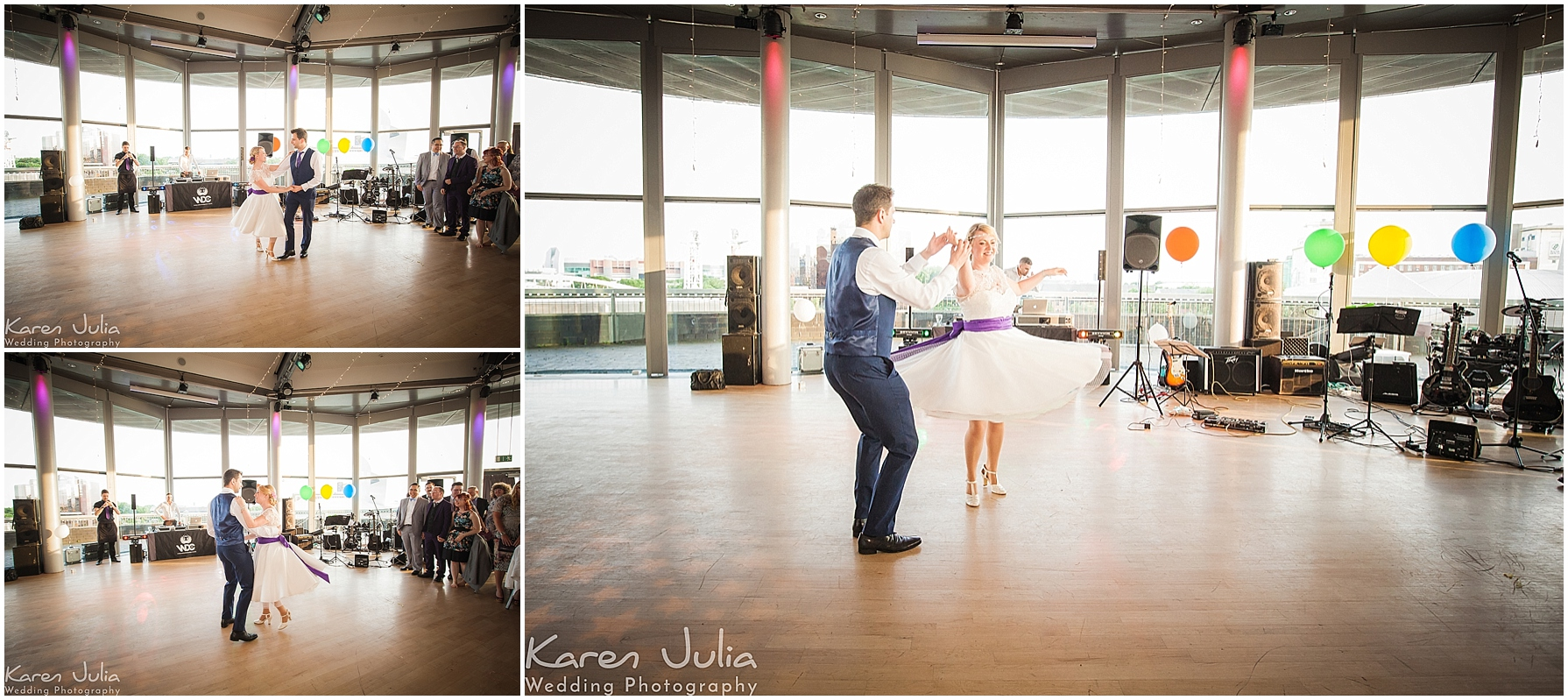 bride and groom first dance in compass room at lowry theatre