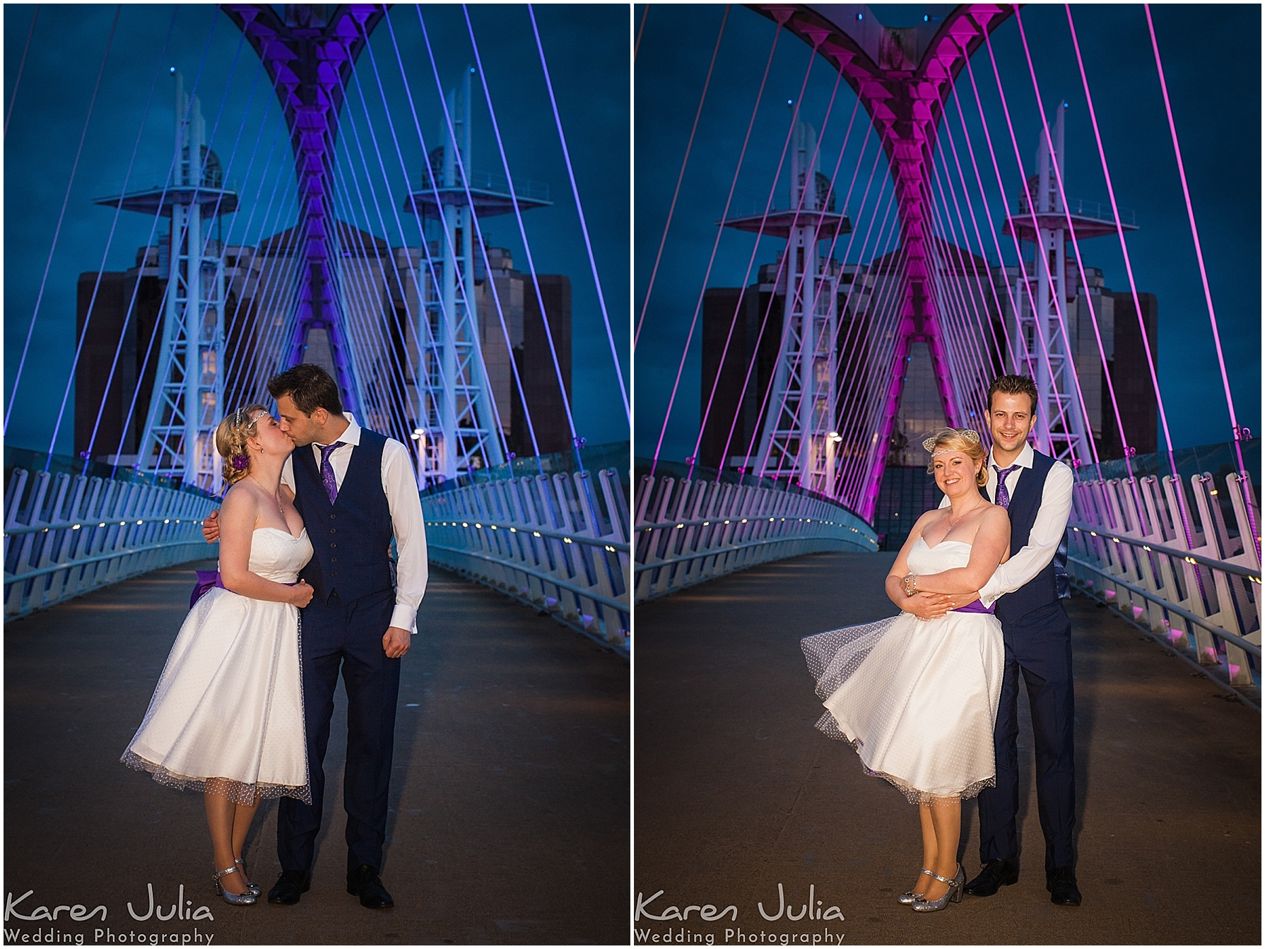 bride and groom portrait at night on bridge next to lowry theatre