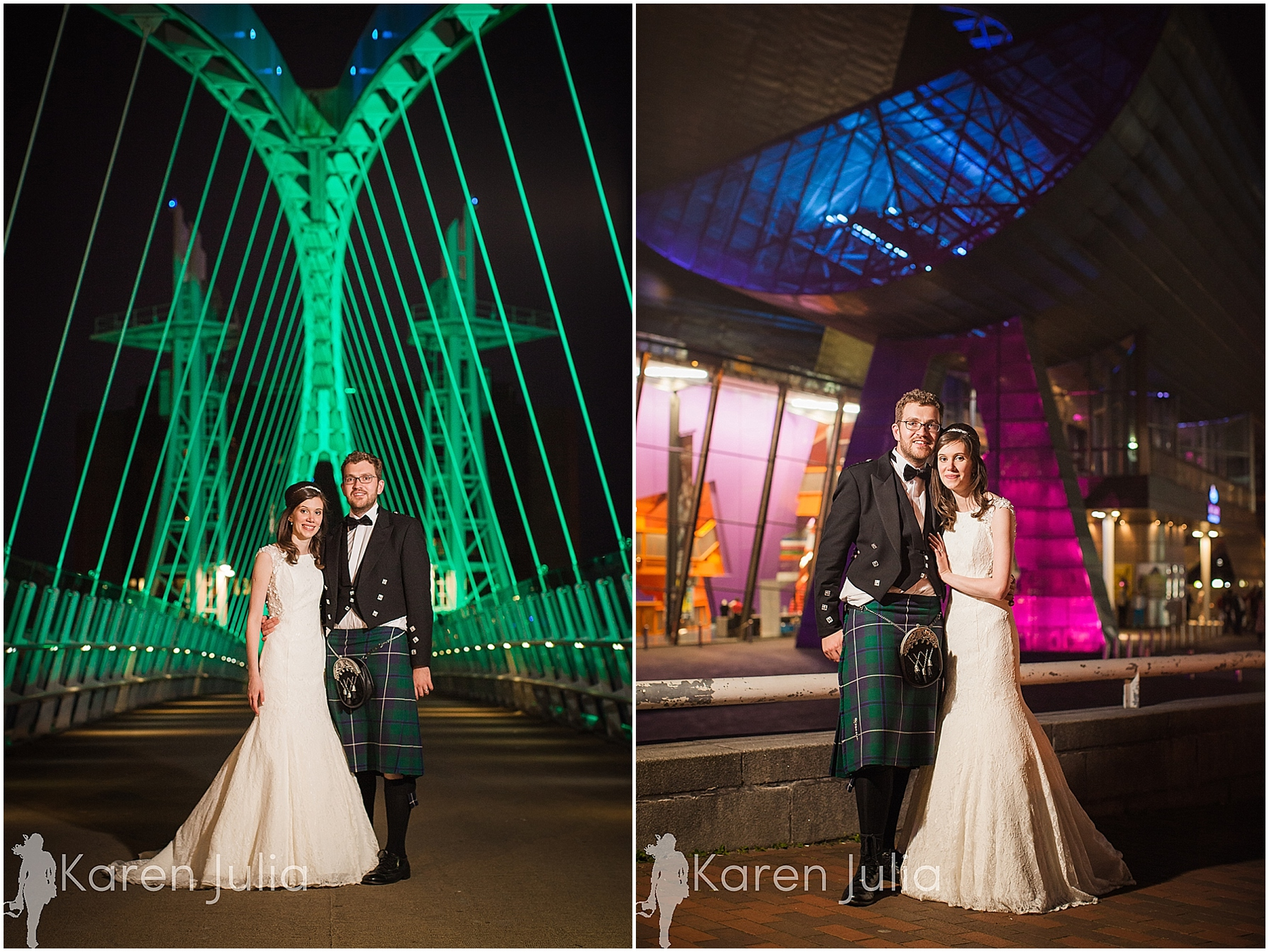 wedding couple portrait on bridge near lowry theatre at night