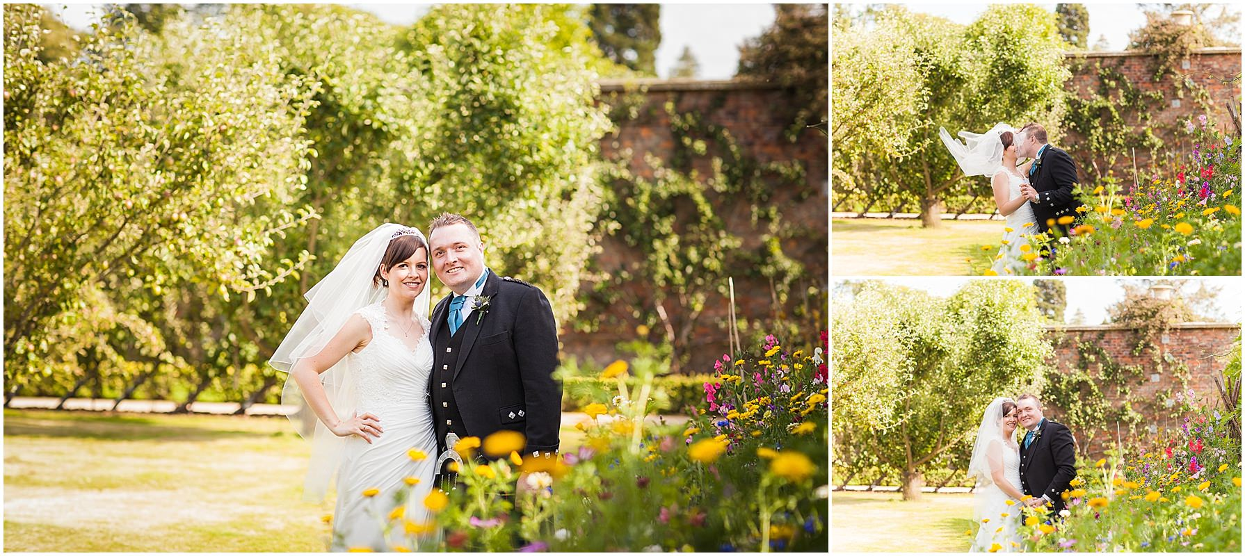 bride and groom portraits in Tatton gardens
