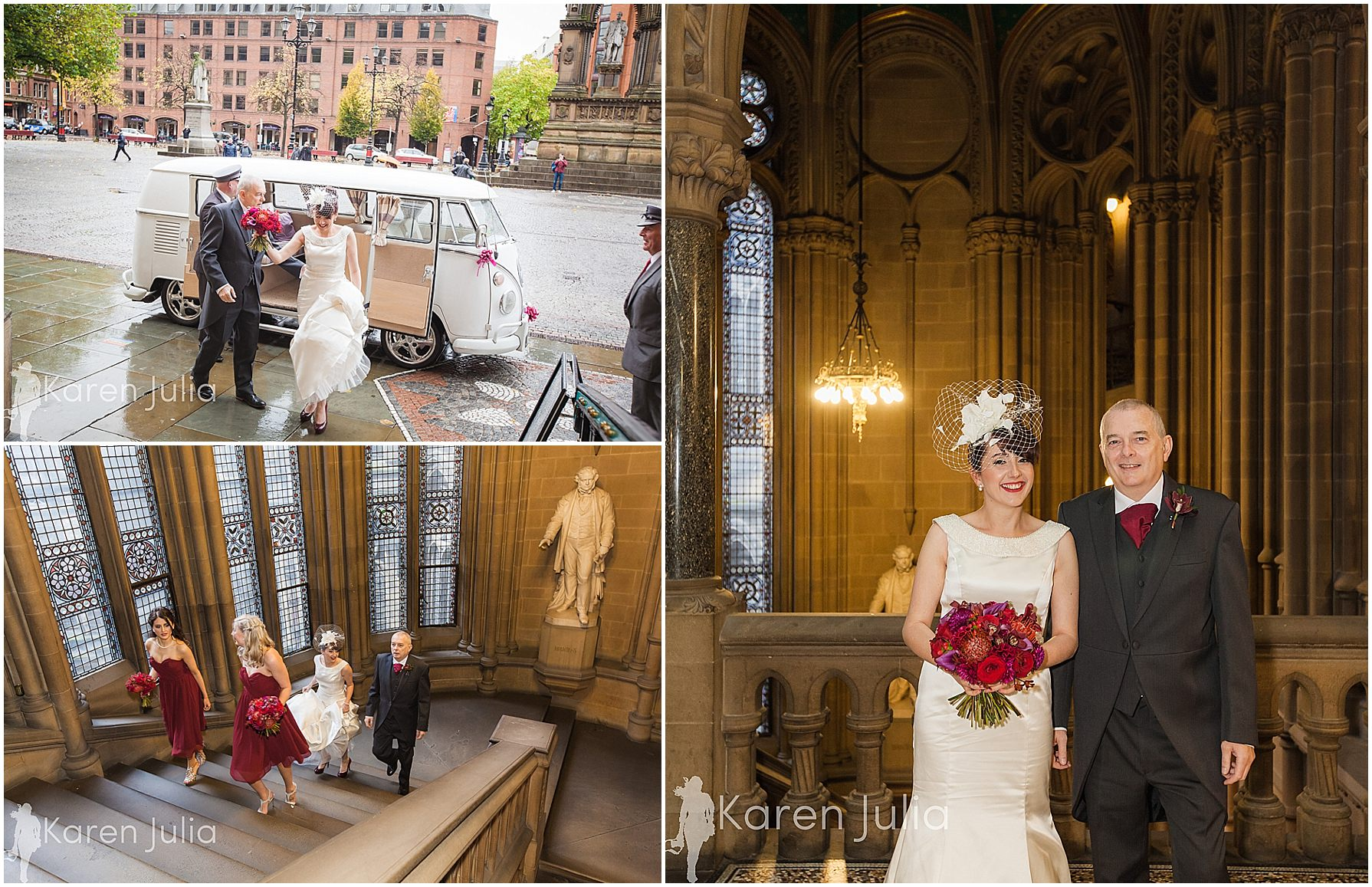 Manchester Towh Hall bride arrival
