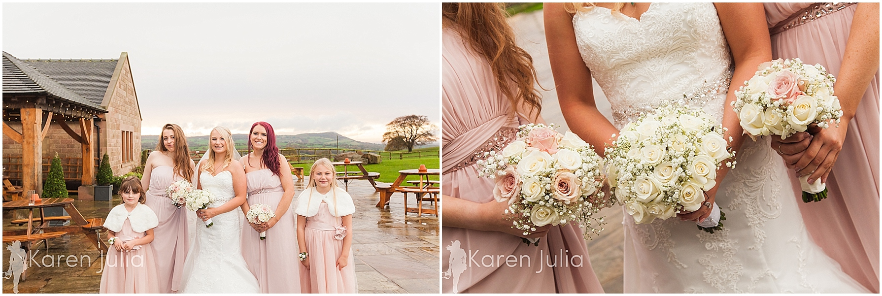 bridesmaids in pink dresses heaton house farm