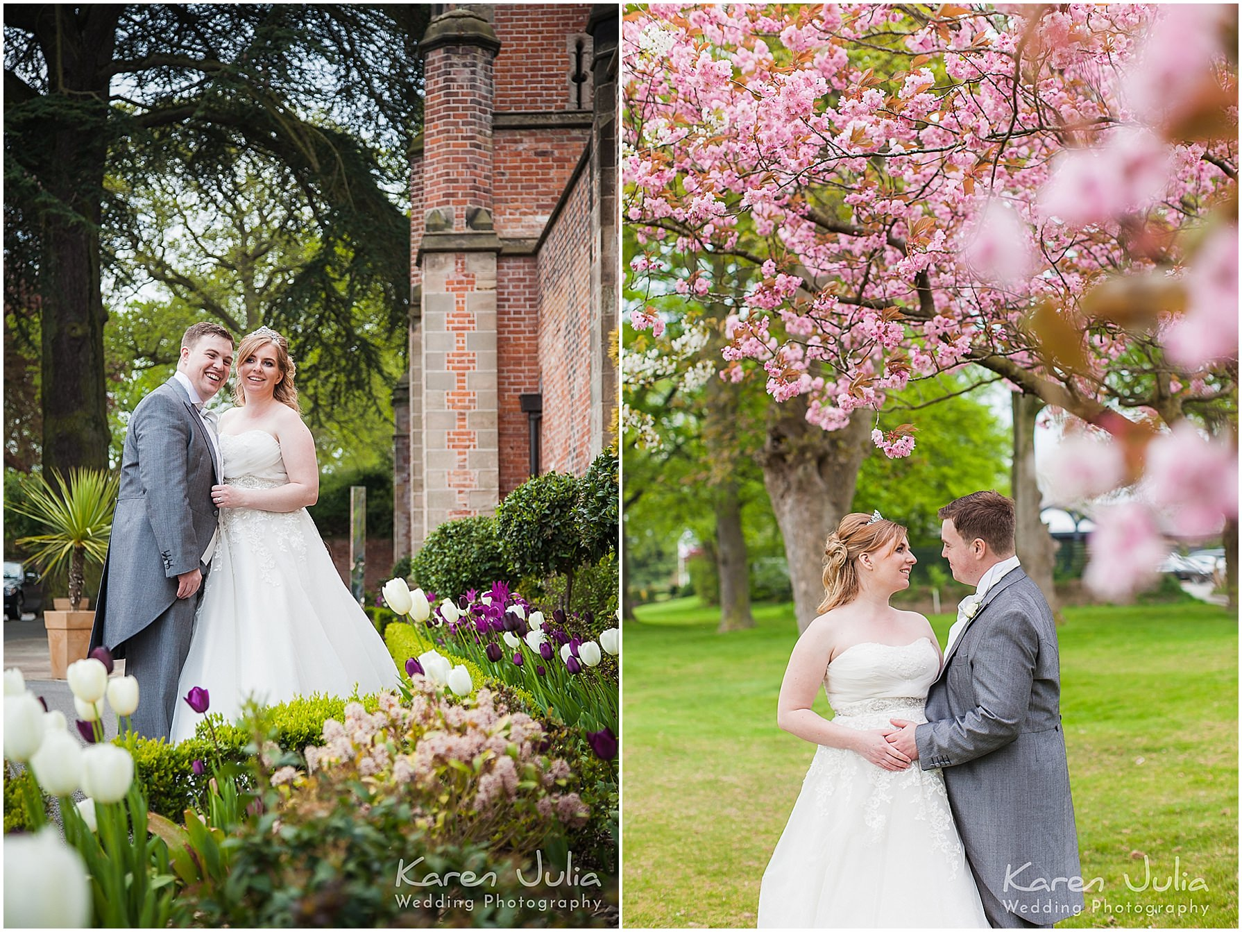 bride and groom with cherry blossom at mere golf resort